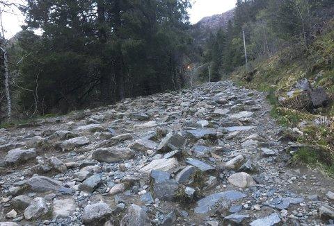 Dette er en del av tilkomstveien til den planlagte Landåsløypen, men den er også veien opp til Oppstemten – sherpatrappen som til høsten skal være ferdig. (Foto: TOM R. HJERTHOLM)