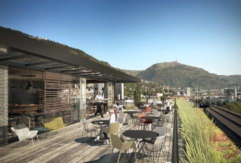 Slik ser arkitektene for seg at takrestauranten på taket av Ole Bull-huset kan bli.