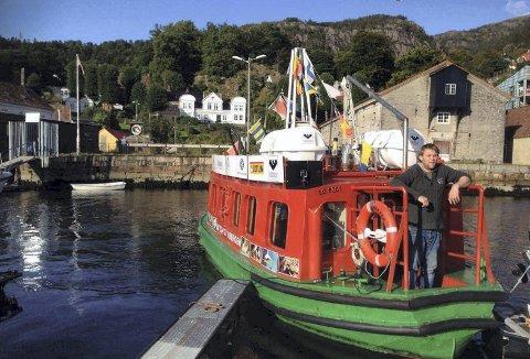 Trond  Breidmyr har vært med «Beffen» i Elsesro ved Gamle Bergen også tidligere. Her fra et besøk i forbindelse med Sandviksdagene september 2017. (Foto: GAMLE BERGEN MUSEUM)