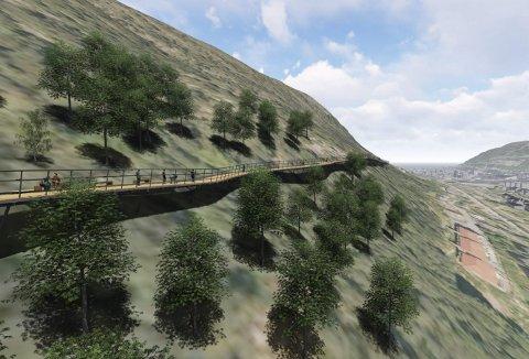 På det aller bratteste her på Løvstakksiden blir det en ca. 200 meter lang gangbro. Denne fjerde etappen på Løvstien-utbyggingen blir selve kronen på verket. Fjellveien på vestsiden av Bergensdalen blir helt spesiell.ILLUSTRASJON: SWECO