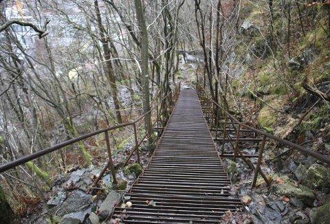 Man valgte å beholde denne trappen som kom på plass etter åpningen av Ulriksbanen i 1962. Litt lenger nede kommer det enda en, bare med langt færre trinn. Foto: TOM R. HJERTHOLM