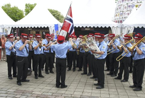 Hele Bergen bys representasjonskorps, Bergen Brandkorps Musikkorps, rundet 130 år sist torsdag – men grunnet koronaen var det ikke en lyd å høre fra jubilanten på den store dagen. Foto: BERGEN BRANDKORPS MUSIKKORPS