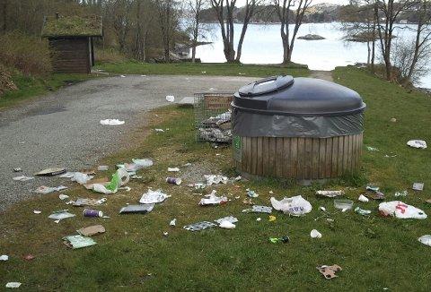 På Vollane i Eidsvåg har de i mange år vært en molok og kurv til engangsgrillene, men nå er disse erstattet av en rød og blå konteiner som skal ta hånd om h.h.v. brukte griller og restavfall. Foto: BA