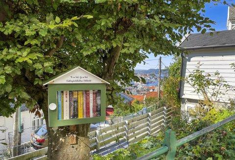 «Folkebiblioteket» i Endregårdsbakken er virkelig av det elegante slaget, plassert inne i hagen men samtidig innen rekkevidde for alle dem som kommer forbi og ønsker å kikke i en bok og eventuelt ta den med seg. Foto: EIRIK HAGESÆTER