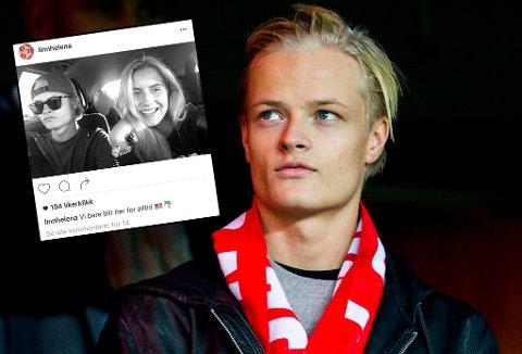 UT PÅ TUR: Marius Borg Høiby, sønn av kronprinsesse Mette-Marit, har funnet tonen med Linn Helena Nilsen (innfelt) fra Drammen. For tiden ferierer de i USA. Hovedbildet er fra november i fjor, da Borg Høiby var på Ullevaal Stadion for å heie på Norge i play off-kampen til EM mot Ungarn.