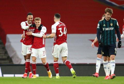 FRA START: Martin Ødegaard spilte sin første Arsenal-kamp fra start da Leeds ble slått.