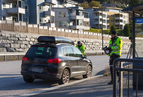 BOT: Utrykkingspolitiet bøtela fire bilistar då dei sjekka mobil- og beltebruk på Bergum torsdag formiddag.
