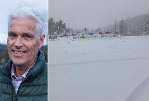 KØYRT LØYPE: Laurdag køyrde Thomas Haugsbø nokre av løypene på Langeland med ATV. Då var det falle så mykje snø ved skiseteret.