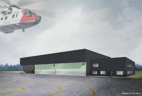 Illustrasjon av den nye helikopterbasen på Sola. En tilsvarende base skal bygges på Rygge, uten kontordelen på siden.