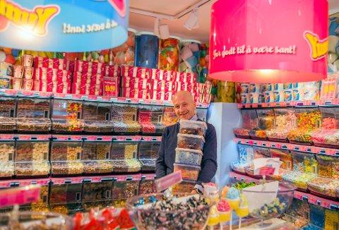 Søt musikk: Salget av godteri i 2019 nådde  nye høyder for Yummy Heaven og Robert Solgaard med seks butikker i og rundt Oslo.