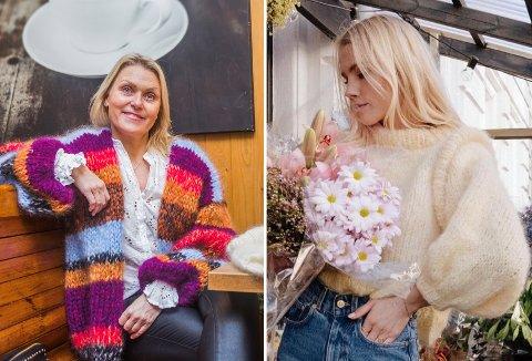 Mona Nilsen (til venstre) har fått full klaff for designet sitt igjen. Hun anslår at den nye Min Mote-genseren (til høyre) strikkes av flere tusen mennesker akkurat nå.