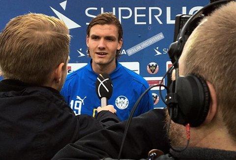 SCORET: Julian Kristoffersen intervjues etter å ha blitt matchvinner i Superligaen søndag.