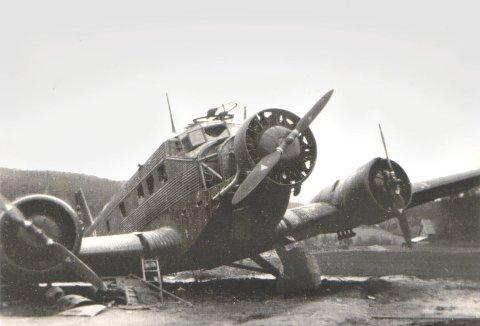 På Galterud: Det tyske flyet måtte nødlande, og havnet til slutt på et jorde ved gården Krogsrudholen. (Bilde utlånt av Per-Øivind Skarphol).Foto: Ingrid Gran Digerud