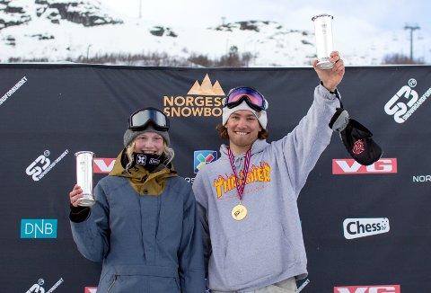 Emil Andre Ulsletten vant kongepokal i snowboard-NM sammen med Tina Steffensen.