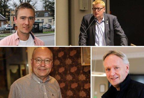 POSITIVE TIL BYSTRAND: Johan Johansen i MDG, Fredik Holm i Høyre, Jens Bakke i Senterpartiet og Fritjof Dahlen er alle enige om at behovet for en bystrand er til stede.