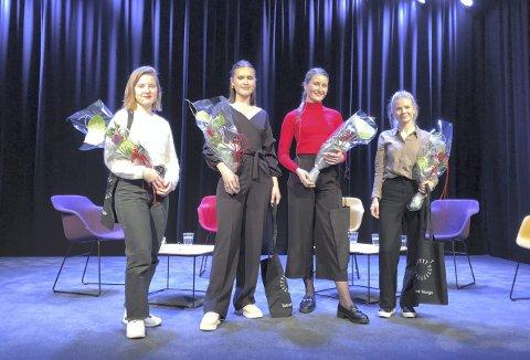 DE UTVALGTE: Disse fire pekte seg ut blant 90 søkere og får plass i Teater Innlandets toårige talentprogram. Fra venstre: Daria Glenter (dramatiker), Julie Bjørnebye (skuespiller), Sofie Huijs (skuespiller) og Ingrid Hundsal (produsent)