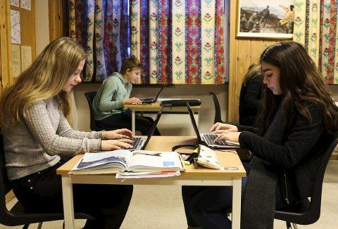 Veslemøy Olsson og Sara Jordan har tatt i bruk  PC i skolearbeidet.
