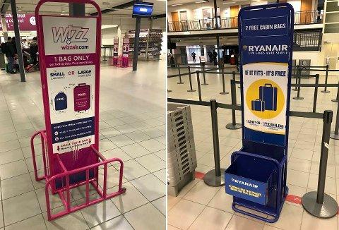 WIZZ AIR: 33,6 liters bagasje. Langt  mindre enn hva du kan ha med hos SAS og Norwegian, for eksempel.   RYANAIR: 44 liters håndbagasje.  Noe mindre enn SAS og Norwegian. Bildene nylig tatt på Torp flyplass.
