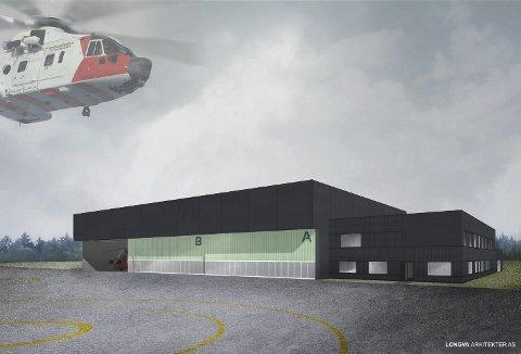 SKISSE: Prosjektet «NAWSAHR på Banak skal inneholde nye verksted-dokker, kontorer, administrasjon og tilstedevakt. På hver lokasjon skal det være plass til tre helikoptre. Skisse: Longva Arkitekter AS