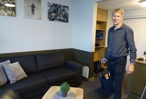 SJEKKET INN: Bjørn Ousland var den første til å ta Lindstrøm-suiten i bruk, da den stod klar fredag.