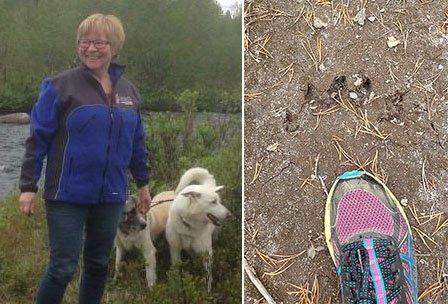 SÅ BJØRN: Anni Grenserud Somby fikk se bjørner på nært hold, men alt hun å rakk å ta bilde av hva sporene etter den.