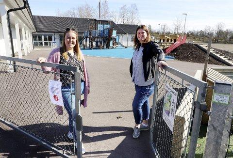 Velkommen tilbake: Pedagogisk leder Karoline Teige og daglig leder Lill Kathrine Finnerud ved Eikelund barnehage gleder seg til å se barna igjen på mandag, etter fem ukers fravær. Foto: Pål Nordby