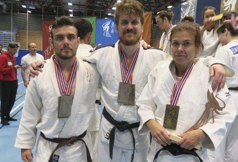 NM-MEDALJER: BK-trioen Morten Andersen (t.v.), Geir Bjerknes og Birgitte Ursin sikret seg nye NM-medaljer i judo i Stavanger.FOTO: HANS ENGEBRETSEN