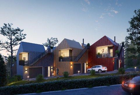 TRE BOLIGER I KJEDE: Eiendommen i Gullaugkleiva 9 skal fortettes med tre nye boliger. Boligene får blant annet egen takterrasse.
