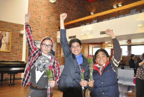VINNERE: Daniel Wårum, Temmam Al-Taie og Phillipe Edward Gervacio vant hver sin klasse i Talentiaden 2015 og var naturlig nok veldig fornøyd med det. Alle foto: Kai Nikolaisen