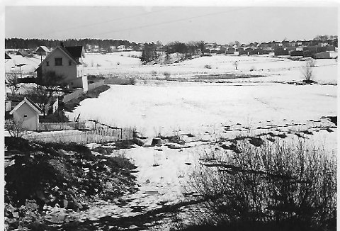 Ørejordet 1962:. Vi gikk over jordet på vei til Solie-skauen hvor han som hadde lagd muskedundra, gikk foran mens vi minste gikk andektig bakerst.