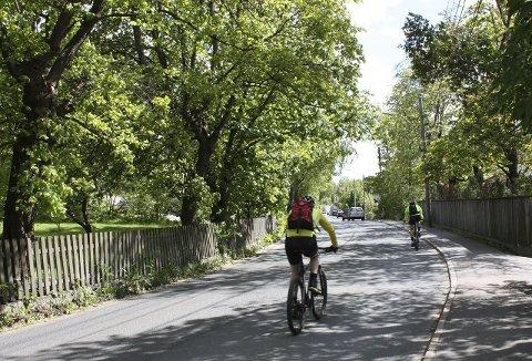 SYKKELFELT: Kommer tidligst neste år. Inntil da må syklistene dele Ekebergveien med biler. Foto: Aina Moberg