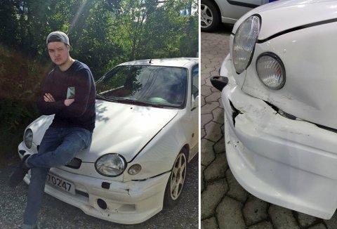 HÅPER I DET LENGSTE: Ruben Henriksens bil er påført skader for flere 1000 kroner. Nå håper han noen har sett noe - enten på K1 eller på Lunheim. Foto: Privat.