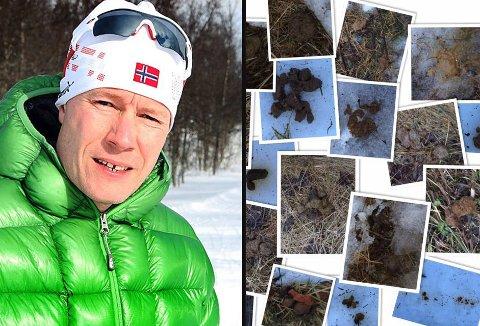 NOK DRITT: Prosjektleder for Tromsømarka-prosjektet, Henrik Romsaas tok bilder av av all hundedritten han fant. Noe vil han ha slutt på at folk ikke plukker opp etter hunden sin. Foto: Torkil Emberland/Privat