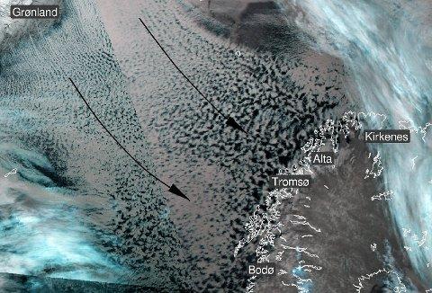 PÅFYLL PÅ VEI: Det blir nordvest og snøbyger også tirsdag og onsdag. Illustrasjon: Meteorologisk Institutt