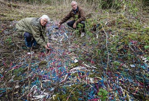 POPPER OPP: Tusenvis med tannbørster er kommet til overflaten i en fylling i Åsnes. Her ser Rita Fossmoen og Arne Jansen nærmere på det hele.