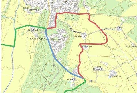NY GRENSE: Den grønne streken viser dagens grense som opprettholdes. Blå strek viser ny grense, mens rød strek viser dagens grense som blir opphevet.