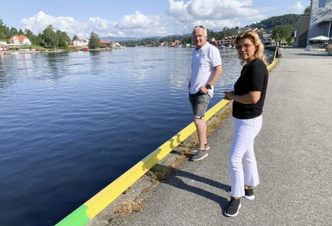 MANGE NYE BÅTPLASSER: Den gamle sjøfartsbyen er dels blitt latterliggjort for at båter ikke lenger kan legge til kai. Nå sier flere at de vil sette i gang bryggebygging. Her Janicke Andreassen og Trond Ingebretsen på Østre brygge.