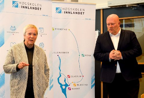 TJENER MEST: Rektor Kathrine Skretting og dekan Peer Jacob Svenkerud er blant de ansatte ved Høgskolen i Innlandet, som tjener mest. (Foto: Bjørn-Frode Løvlund)