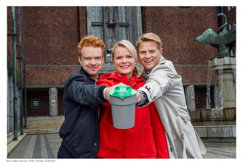 PÅ TV: Mikkel Niva, Ingrid Gjessing Linhave og Robert Stoltenberg er programledere for TV-aksjonen 2019.