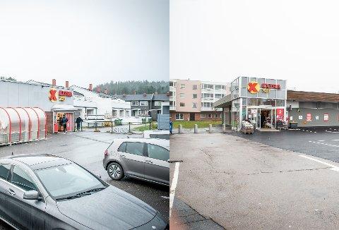 PÅBUD/IKKE PÅBUD: Disse Coop Extra-butikkene ligger 700 meter unna hverandre. Likevel er reglene forskjellige som følge av de lokale smittevernreglene som kommunene har vedtatt.