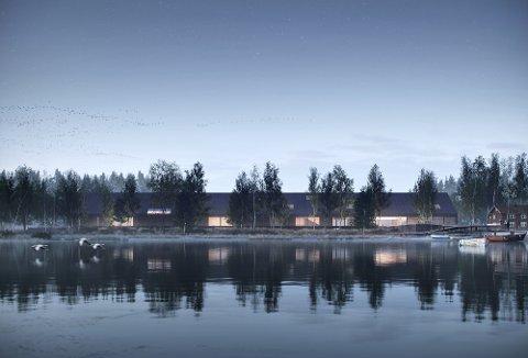 Nasjonalt fløtingsmuseum og kompetansesenter for våtmark på Fetsund lenser vil bli Norges fremste destinasjon og kompetansesenter for kultur- og naturarv. Dette viser fasaden til vinnerbidraget i arkitektkonkurransen. Alle illustrasjoner: Karres en Brands