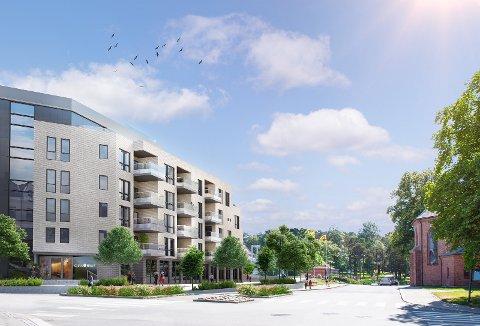 KULÅS HAGE: Den store leiligheten på 254 kvadratmeter får en beliggenhet i sjette etasje ut mot Glengsgata  og Sarpsborg kirke,