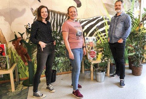 NYTT I ÅR: Marte Lie (t.v), Cecilie Lysell og festivalleder Stian Johansen i Appelsinia.