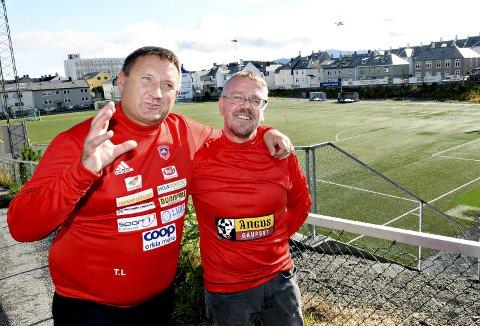 Idrettsledere: Tore Løvik (til venstre), Tor Ødegård og KAK ønsker å utvikle Idrettsplassen og områdene rundt til å bli en stor aktivitetspark for fotball og andre idretter.