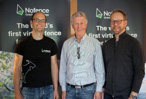 Oscar Hovde Berntsen (teknisk leder), Olbjørn Kvernberg (styreleder) og Erik Harstad (daglig leder).