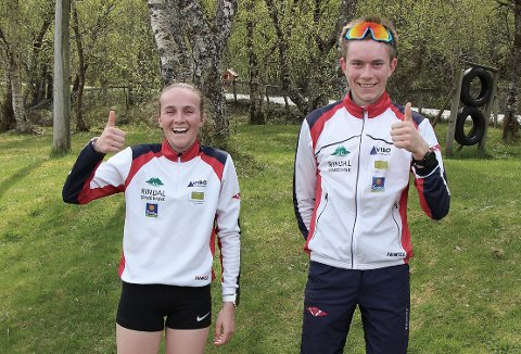 VINNERE: Mali Eidsnes Bakken og Erik Løfald, begge fra Rindal, vant sine klasser i Ola Åsbøs minneløp i Aure lørdag.