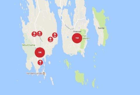 MISTET STRØMMEN: Kartet viser hvilke områder på Tjøme som er uten strøm i 09-tiden.