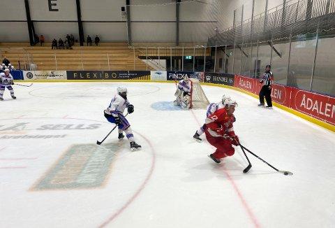 HISTORISK: Tønsberg Vikings møtte Furuset i 1. divisjon ishockey i Oslofjord Arena på Brunstad onsdag kveld. Det endte til slutt med seier for de rødkledde.
