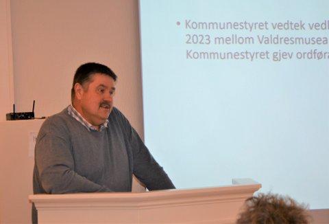 AUKAR TILSKOTET: Vestre Slidre kommune gjekk inn for å auke sitt årlege tilskot til Valdresmusea. Ordførar Haldor Ødegård (Sp) fekk fullmakt til å samordne vedtak med auke i tilskot med dei andre valdreskommunane.