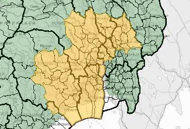 SKREDFARE:Kart over Østlandet der det i gult område meldes fare for jordskred torsdag og fredag.